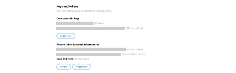 Twitter botの作り方 key token 表示