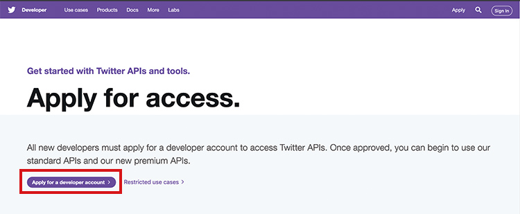 Twitter botの作り方 apply access