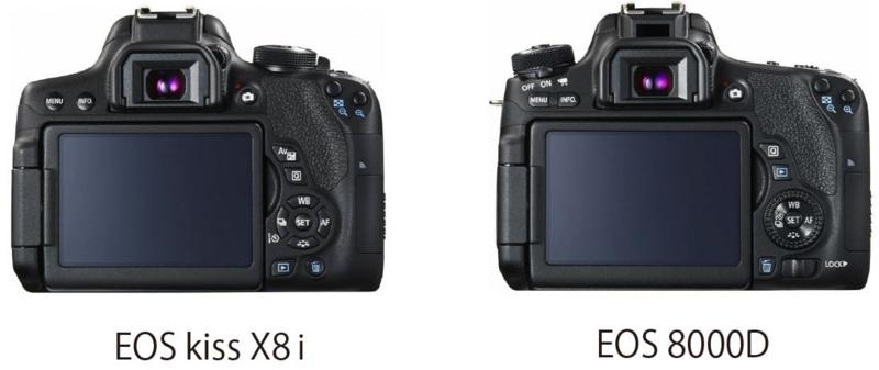 EOS kissX8iとEOS 8000D デザイン