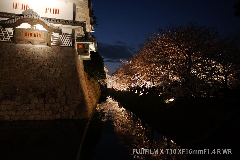 f:水面に反射する夜桜