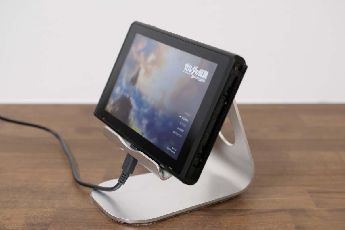 iPadスタンドにニンテンドースイッチを乗せる2