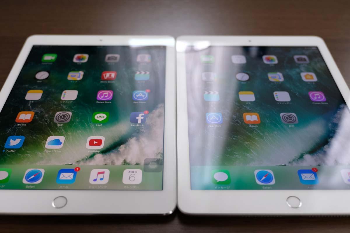 光の反射 iPad ProとiPad(第5世代)