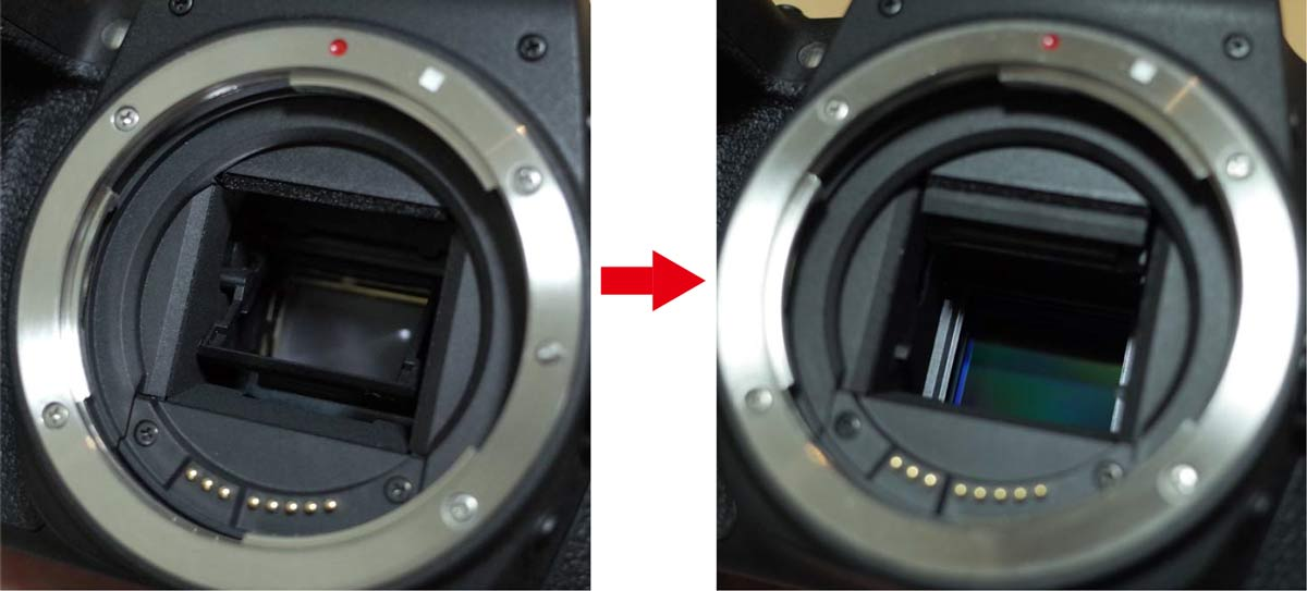 一眼レフカメラのミラーとセンサー
