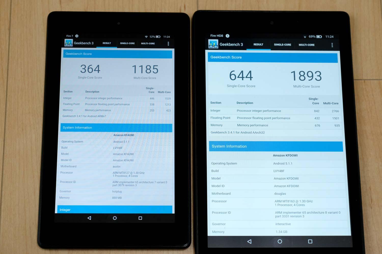 Fire 7 vs Fire HD 8 CPU性能