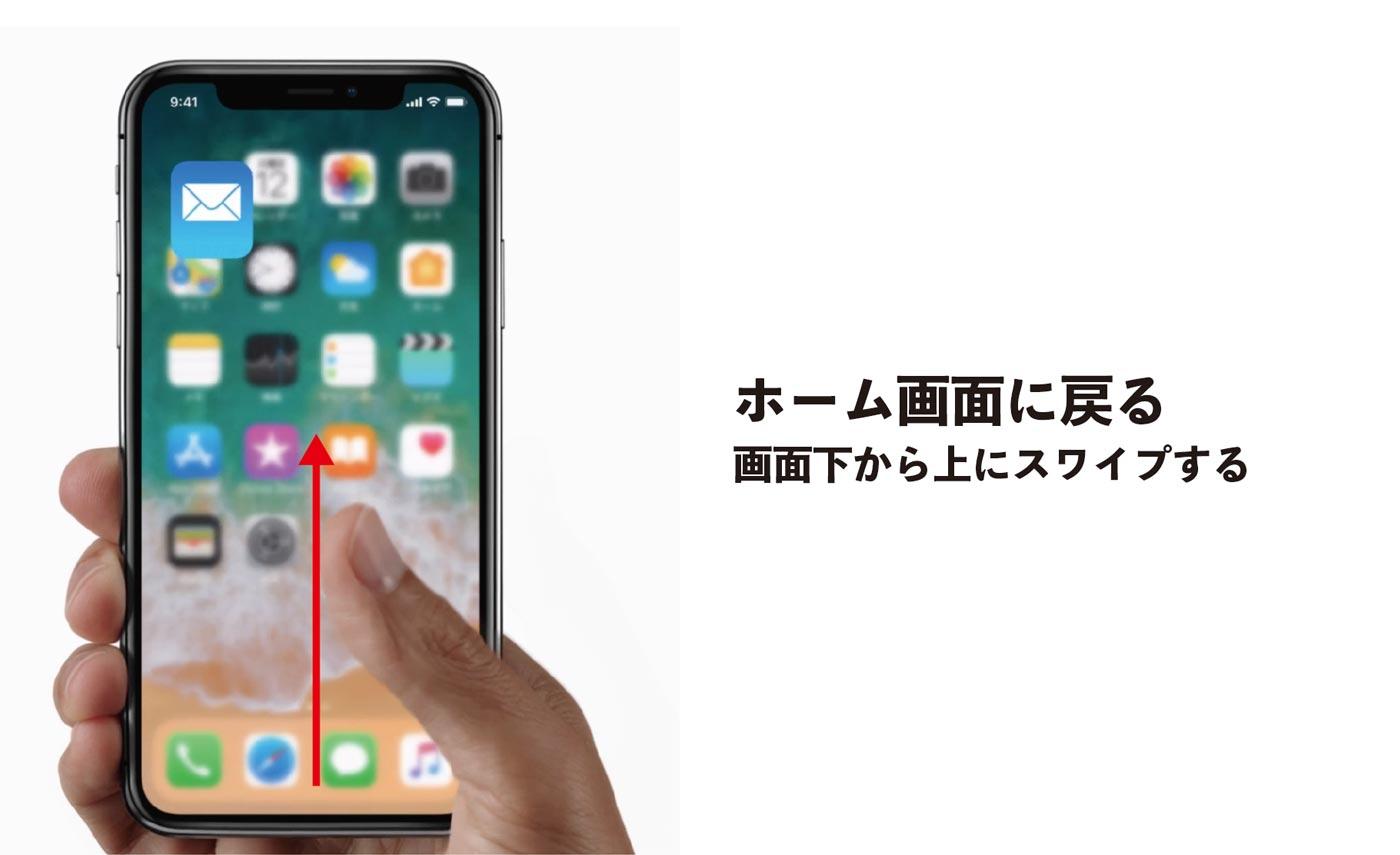 iPhone X ホーム画面に戻る