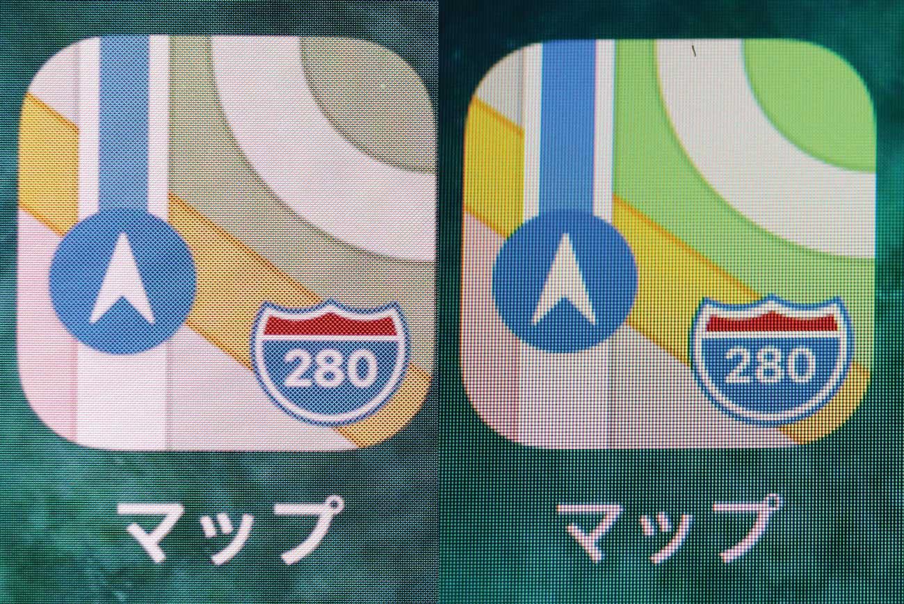 iPhone 8とiPhone X ドットの粗さ