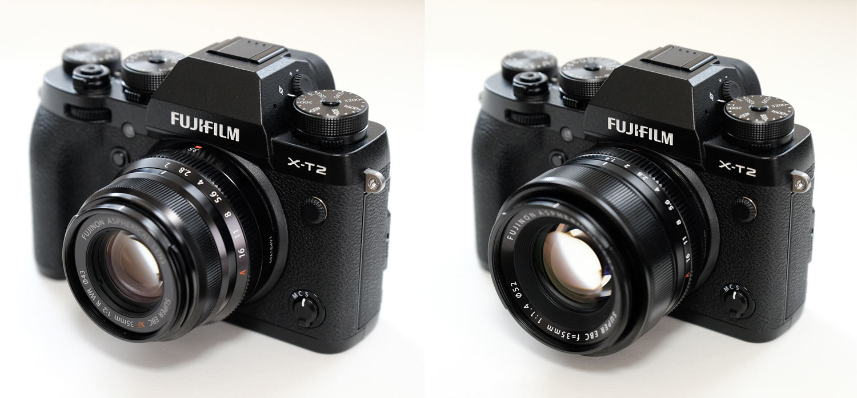 X-T2 XF35mmF2とXF35mmF1.4 装着