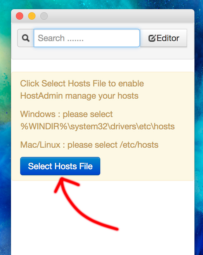 HostAdmin Hostsファイルの読み込み(Mac)