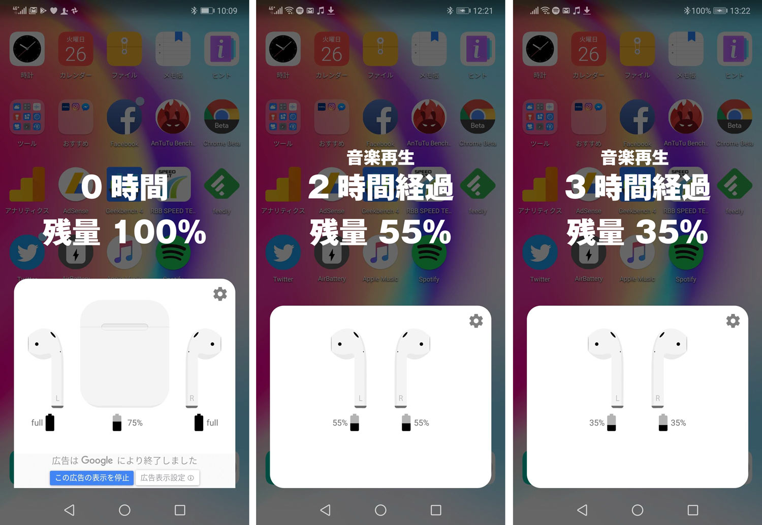 AndroidでAirPods バッテリー減り
