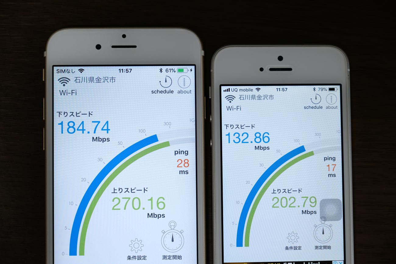 iPhone 6s・iPhone SE Wi-Fi 通信速度
