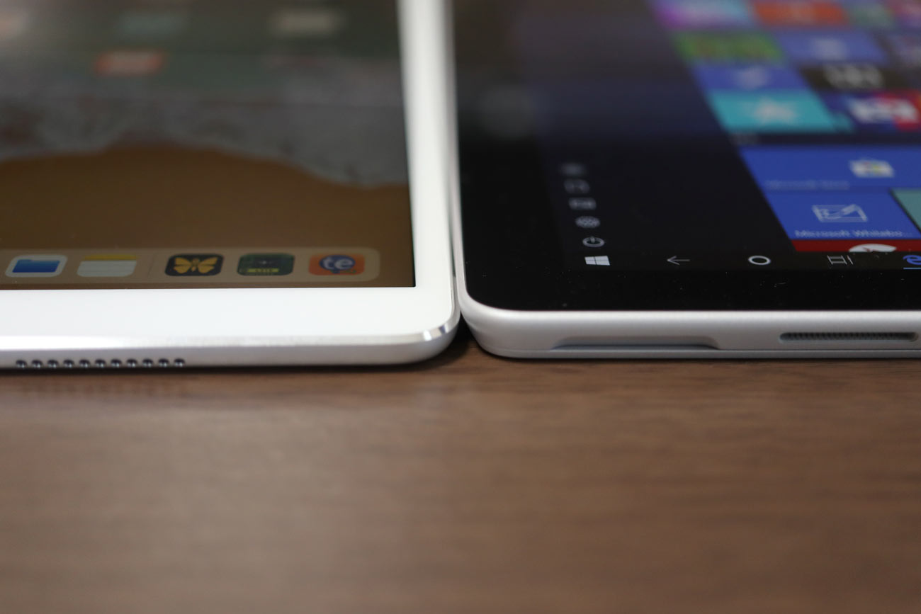 iPad ProとSurface Go 本体の薄さの違い