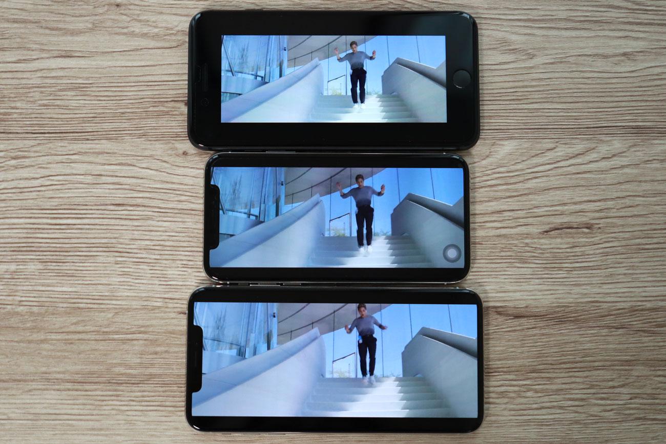 iPhone XS Max Youtube 画面横向き比較