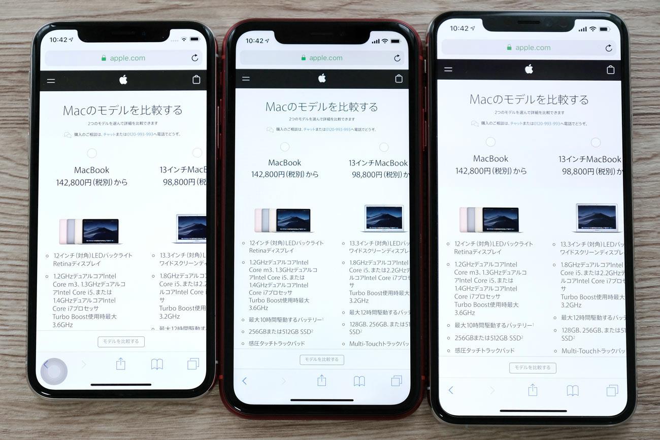 iPhone XS・XR・XS Max 画面表示領域の違い