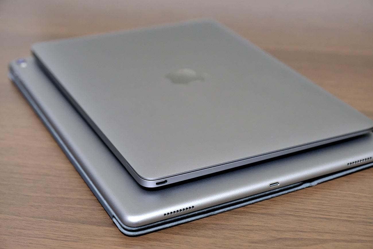 MacBookとiPad Pro 2017 本体サイズの比較