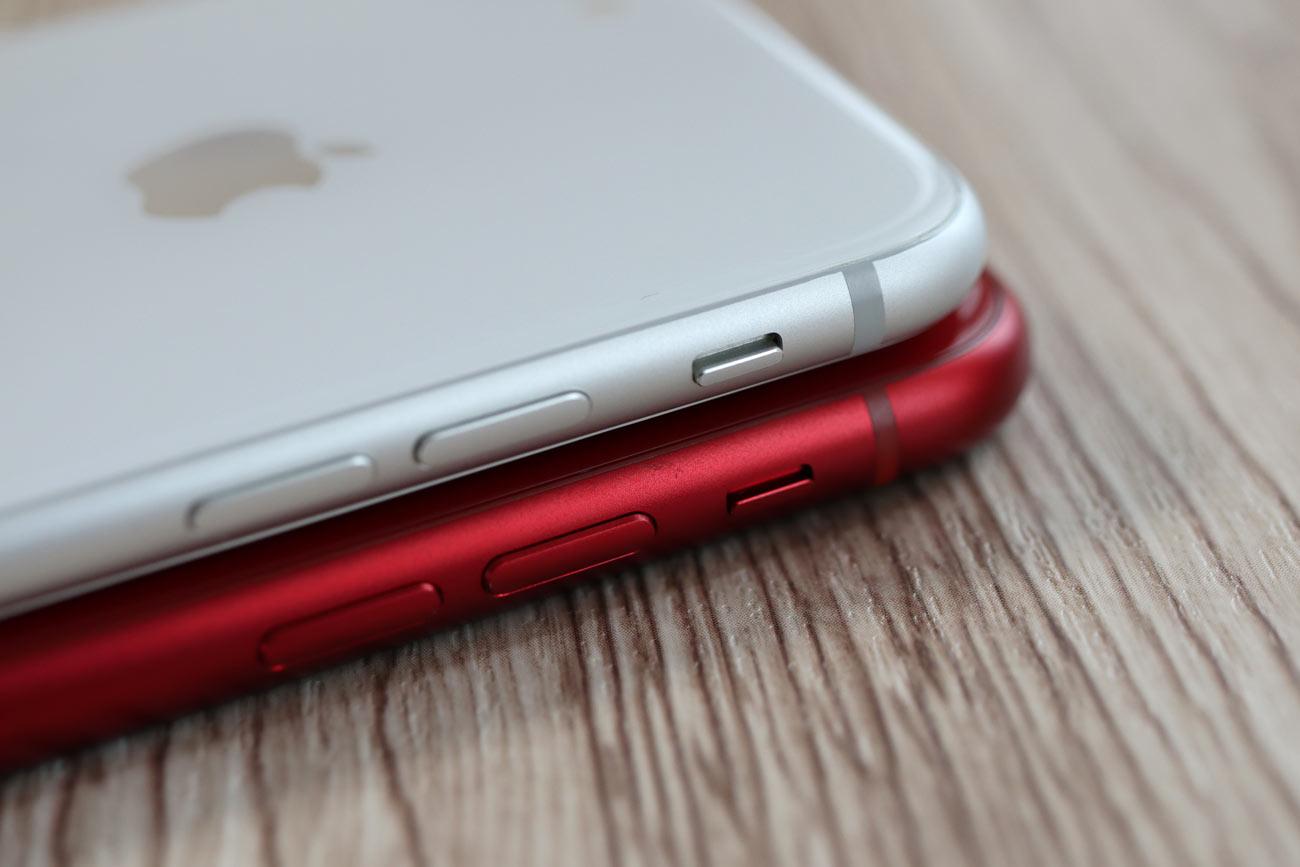 iPhone 8とiPhone XRのサイドフレームデザイン