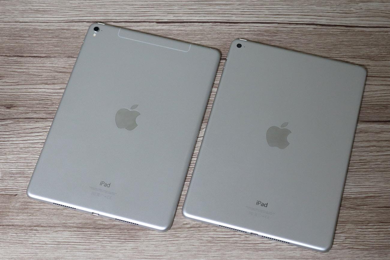 iPad Pro 9.7とiPad Air 2 背面パネルの比較
