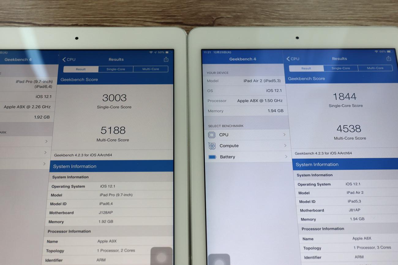 iPad Pro 9.7とiPad Air 2 CPUの性能比較