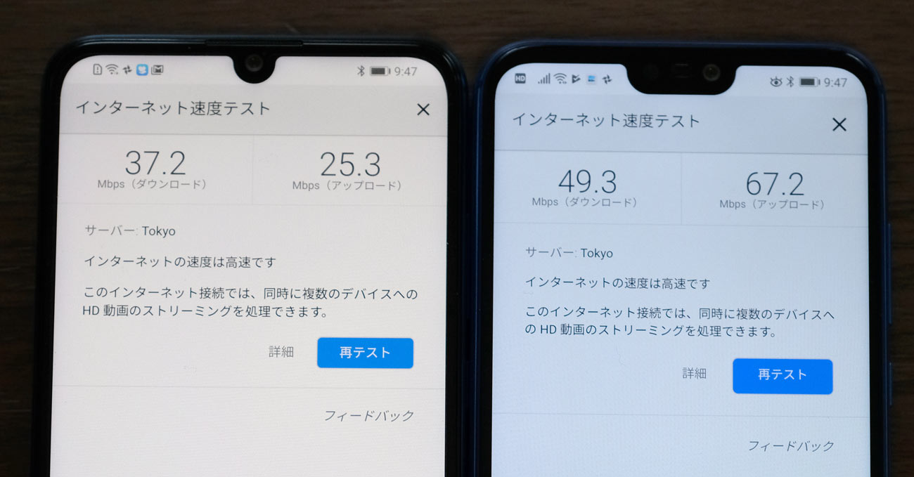 nova lite 3 P20 lite Wi-Fi 通信速度の違い