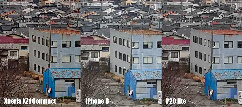 Xperia XZ1 Compact、iPhone 8、P20 lite カメラ画質比較