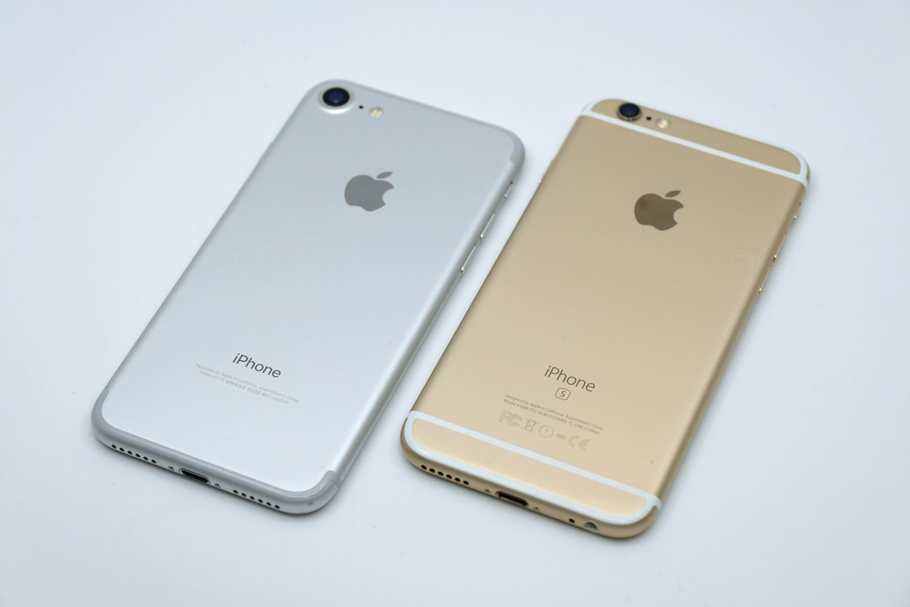 iPhone 7とiPhone 6s 背面パネルのデザインを比較