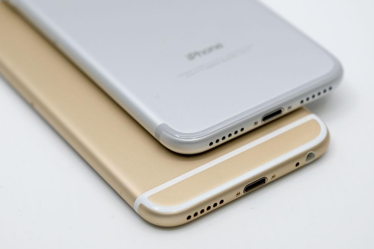 iPhone 7とiPhone 6s 下部のアンテナラインの違い