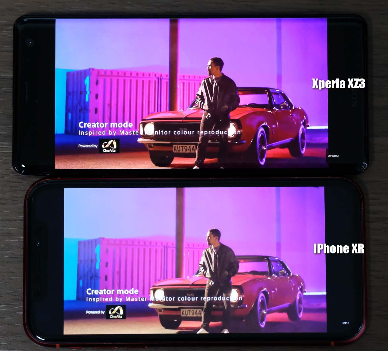 iPhone XRとXperia XZ3 動画の画質の違いを比較