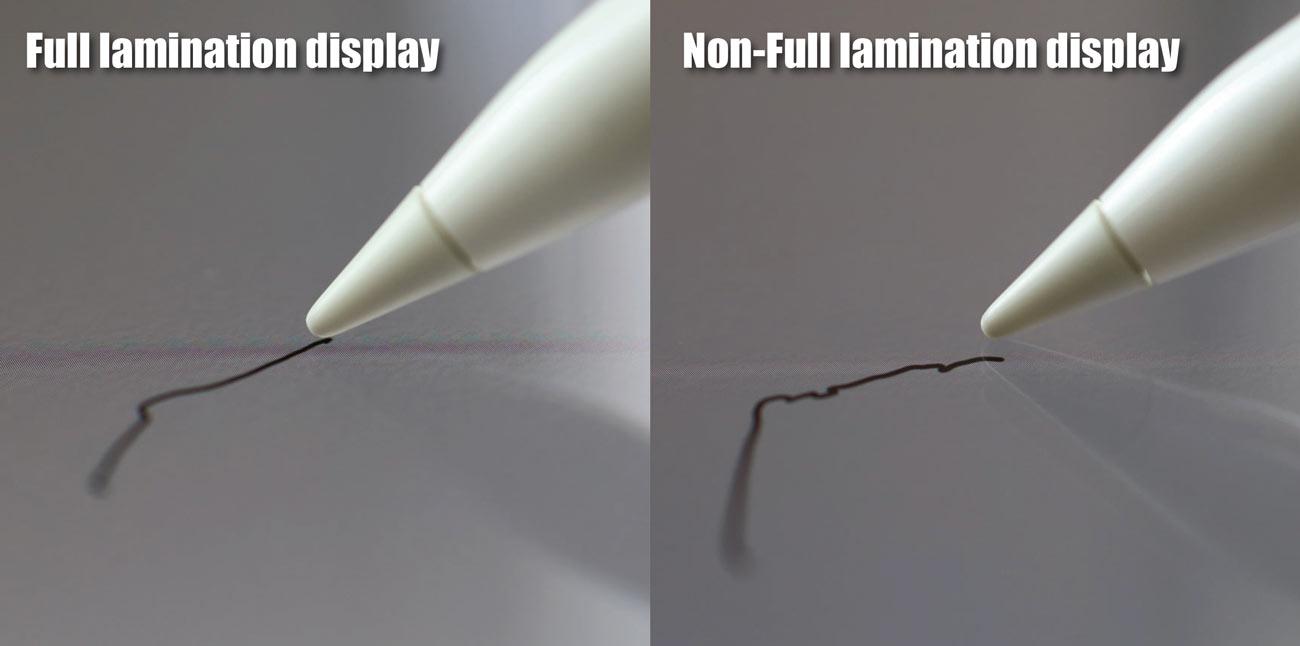 フルラミネーションとApple Pencilの画面の隙間