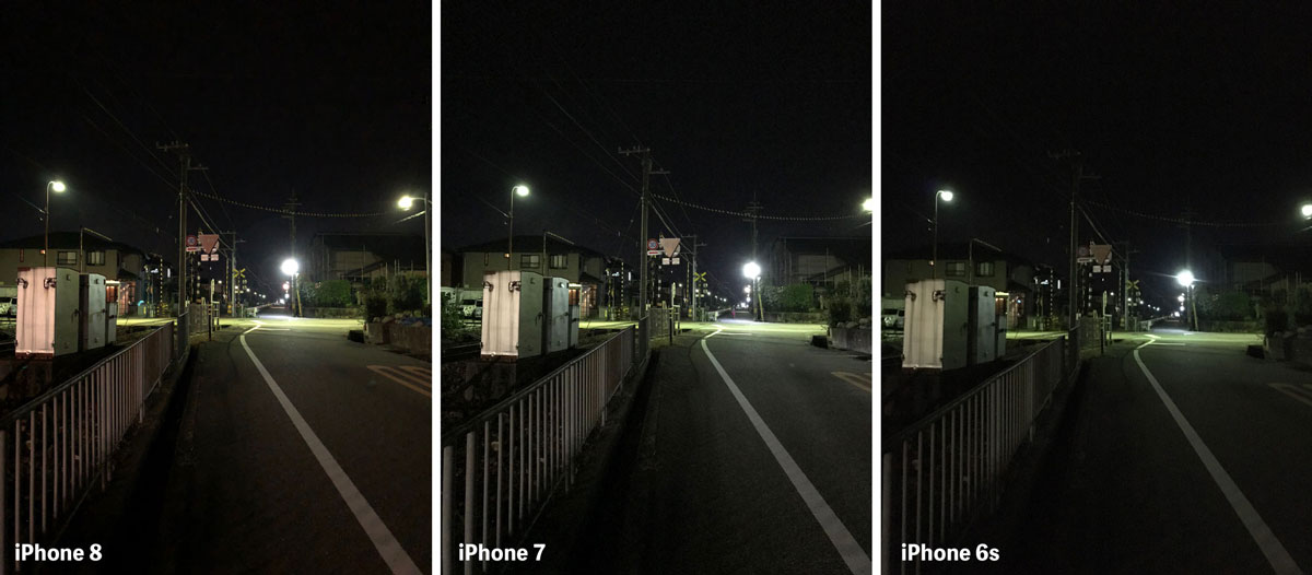 iPhone 8とiPhone 7のリアカメラ 画質の違いを比較(夜間)