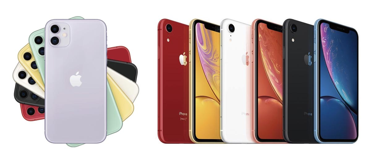 iPhone 11・XR カラーバリエーションの比較