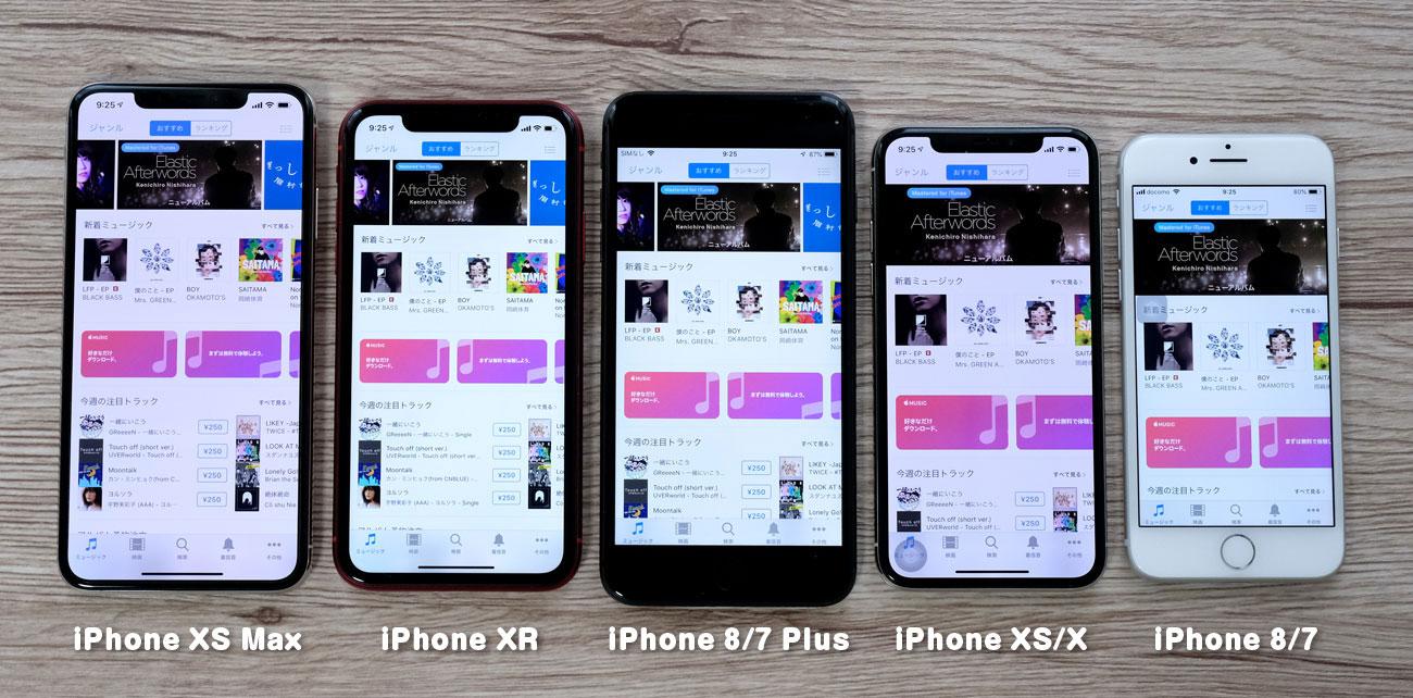 iPhone 画面の表示領域比較
