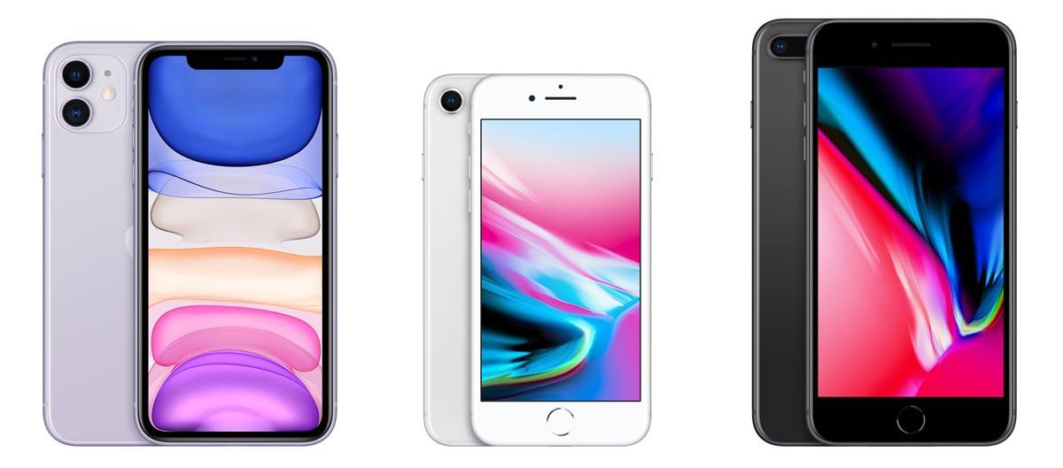 iPhone 11とiPhone 8/8 Plusの本体サイズの違い