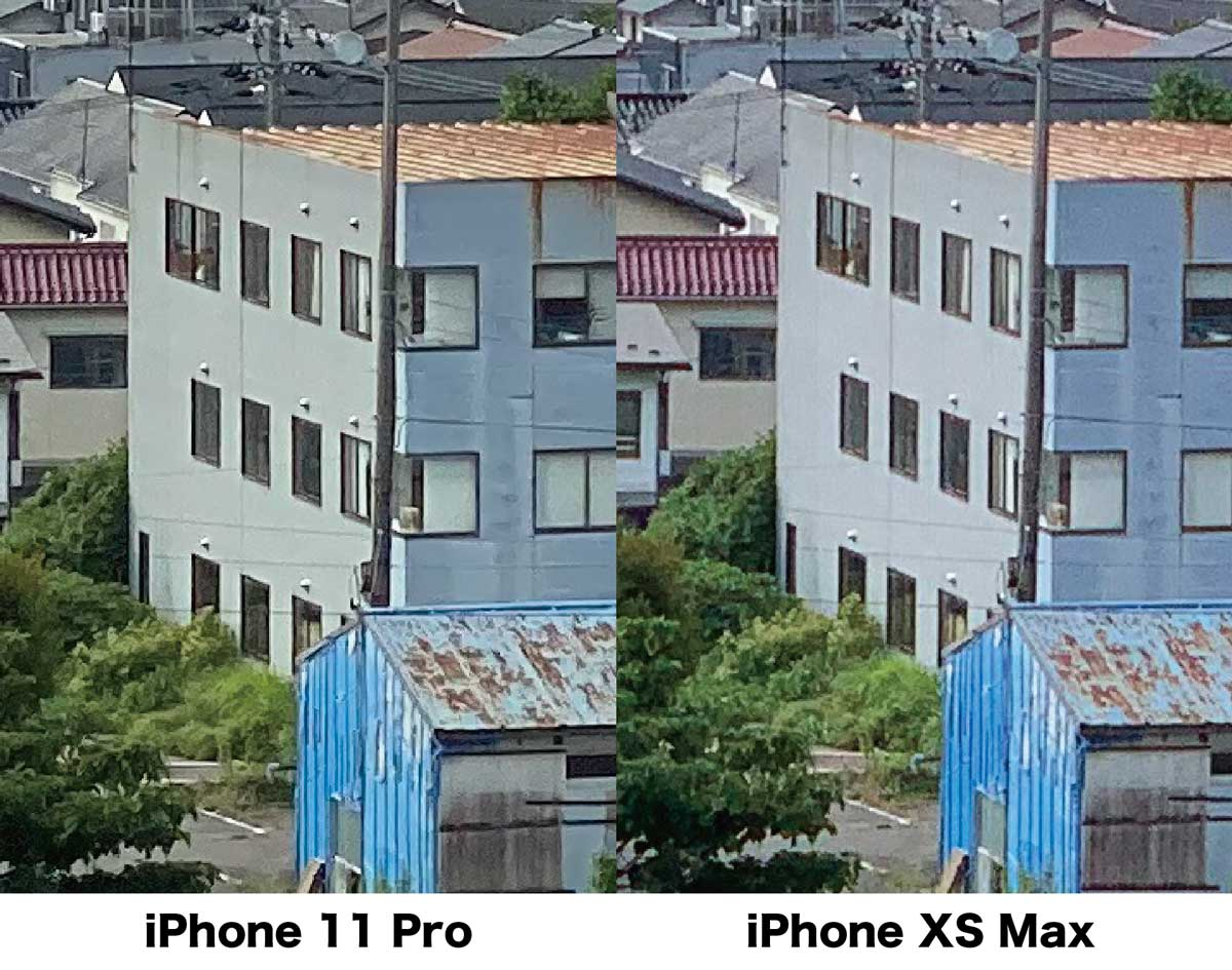 iPhone 11 ProとXS Maxの広角カメラの解像感比較(拡大)