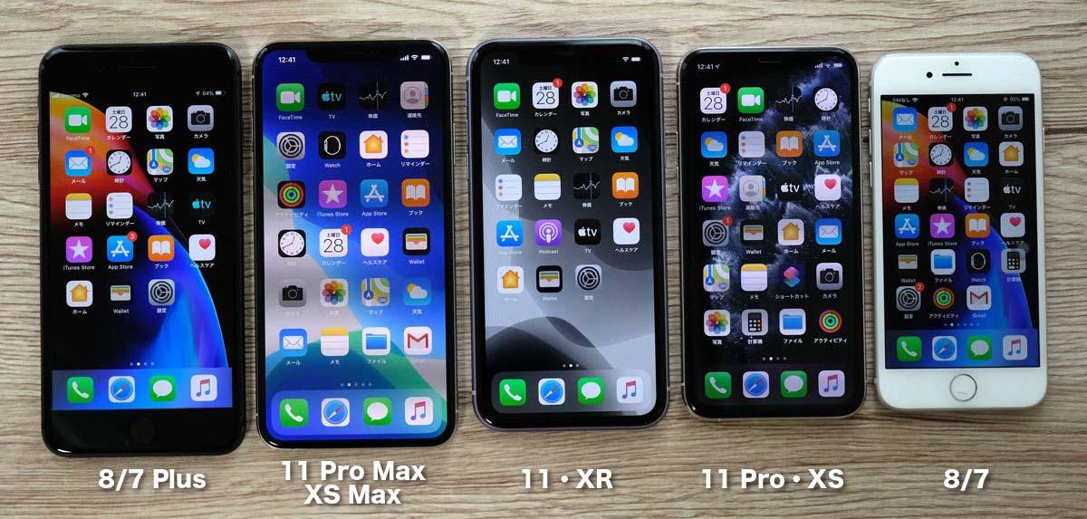iPhone 全機種の画面の大きさ