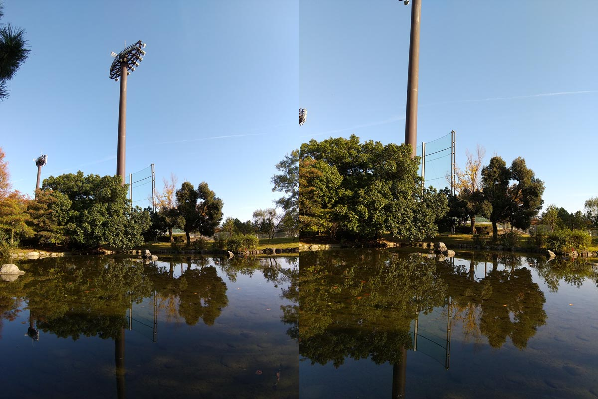 AQUOS sense3の広角と標準カメラ比較