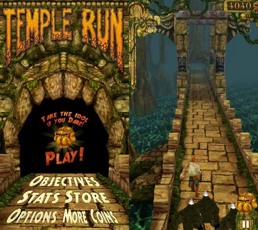 templeRun トップ画面とプレイ中の写真