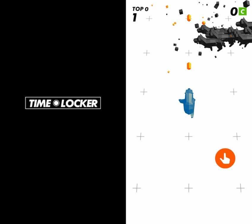 TimeLocker トップ画面とプレイ中画面の写真
