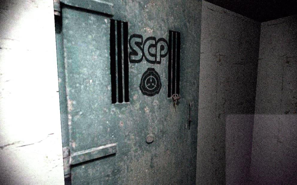 SCP087 階段へと続く電子ロックの扉の写真