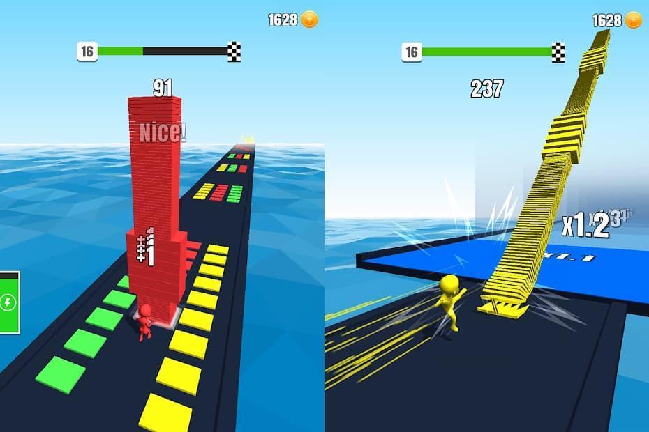 スタックカラーズ ゲームプレイ中の画像を2枚結合した写真