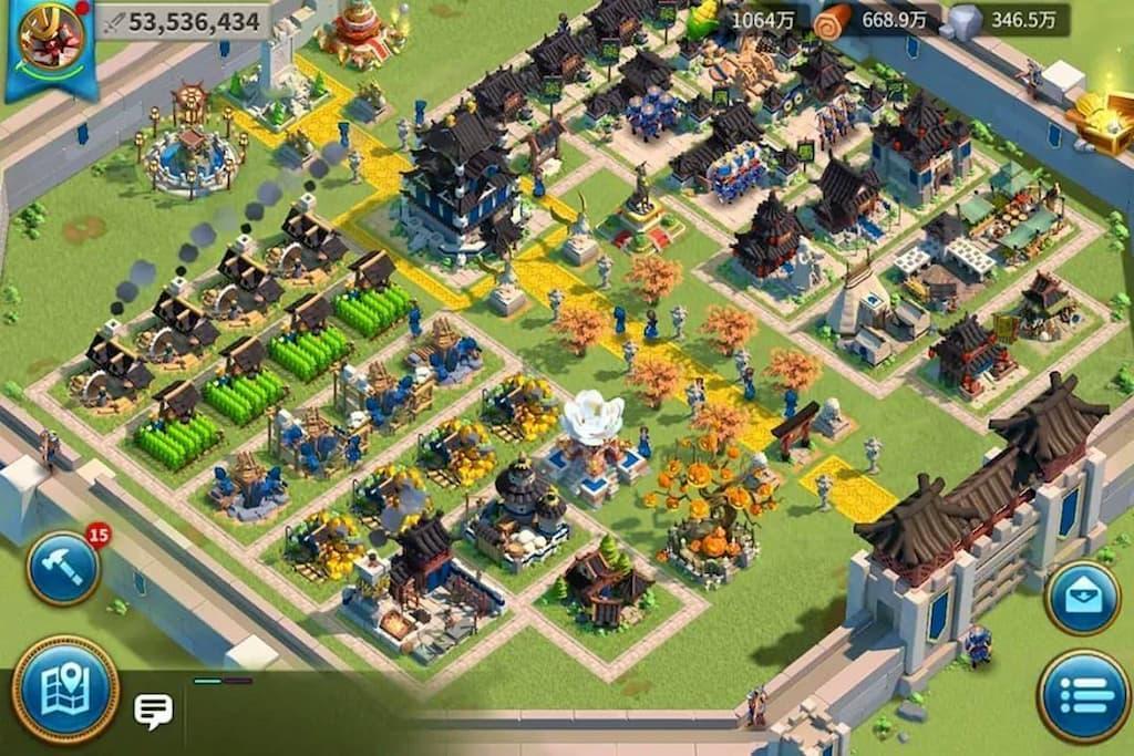 Rise of Kingdoms 町のカスタマイズ画面