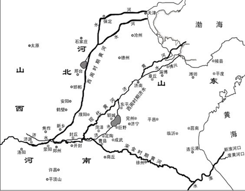 黄河 西周時代と現代の流路