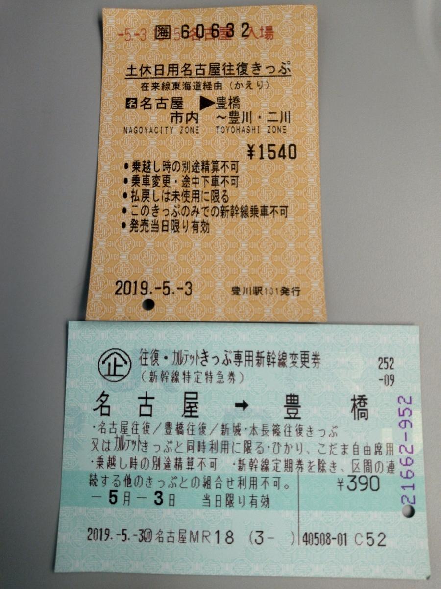 豊橋⇔名古屋往復切符と新幹線変更券