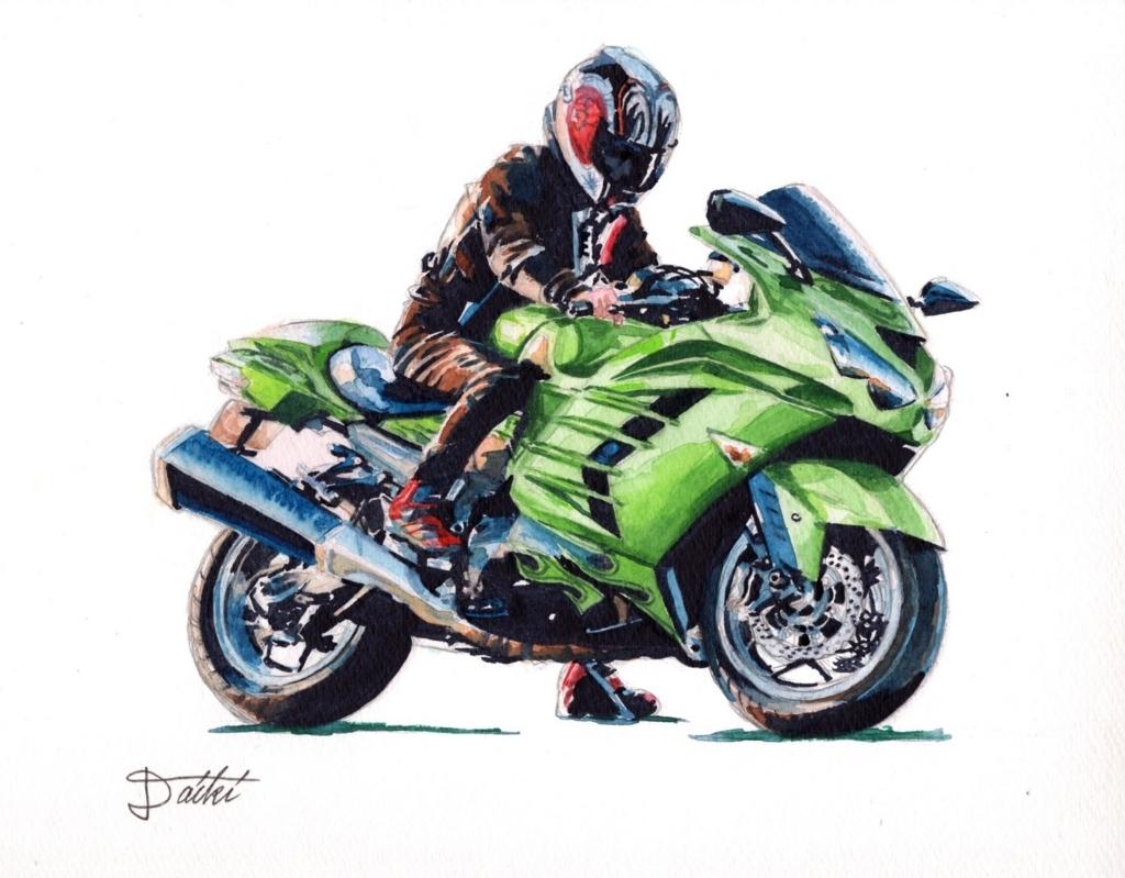 バイクイラスト − kawasaki zx14rの水彩イラストを描かせて頂きました
