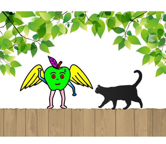 ネコと遊ぶ林檎