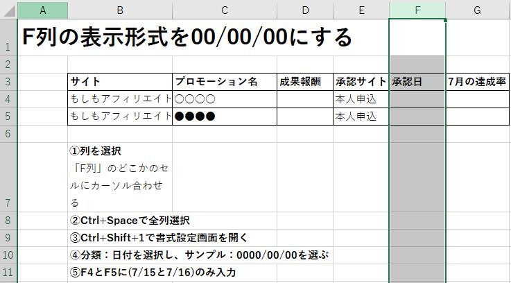 F列に表示形式0000/00/00を設定する