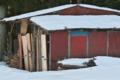 [納屋][山小屋][農具小屋][積雪][残雪]納屋