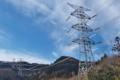 [送電線][鉄塔][電線][マヒワ][冬空]送電線