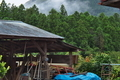 [納屋][農具小屋][集落][山里][スギ林]納屋