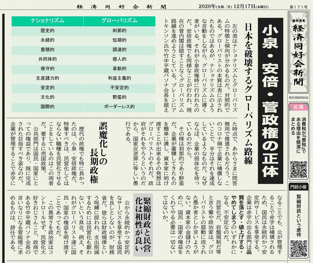 小泉・安倍・菅政権の正体
