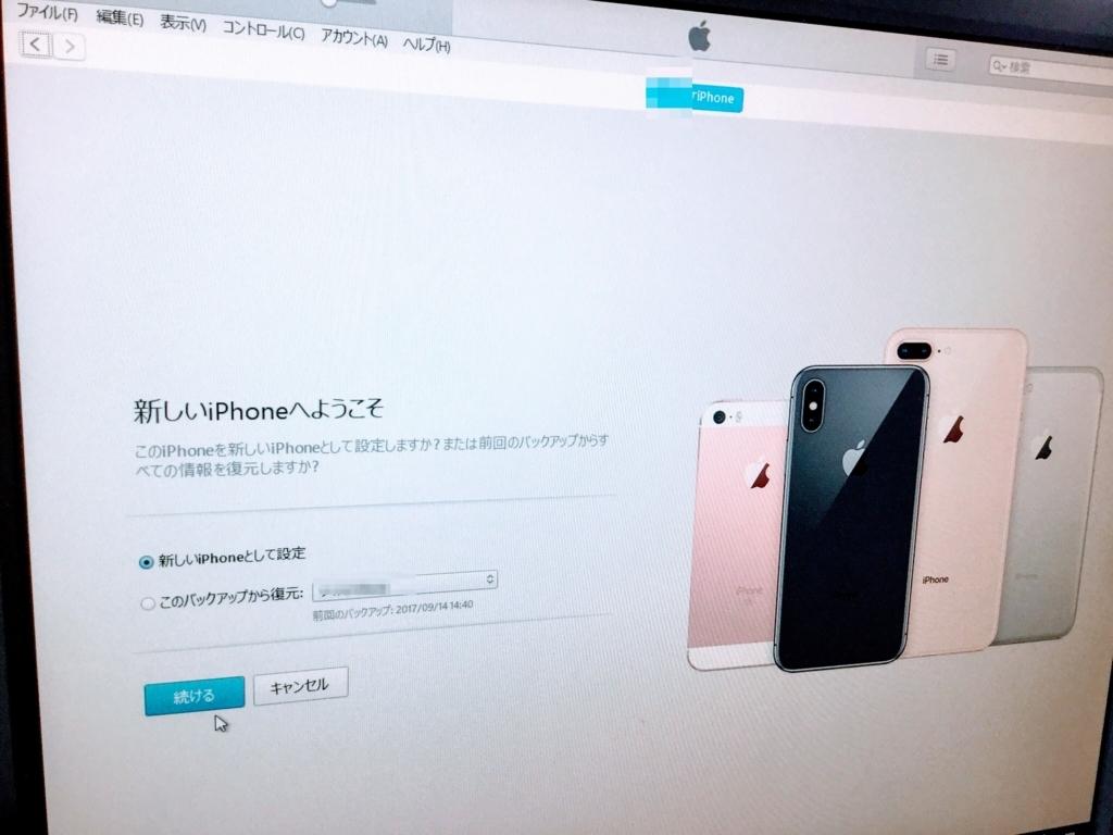 新しいIphoneとして設定の画面