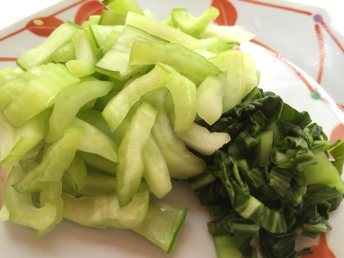 チンゲン菜 ぬか漬け 盛り付け